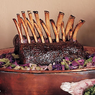 Roasted Rack of Venison with Red Currant and Cranberry Sauce.