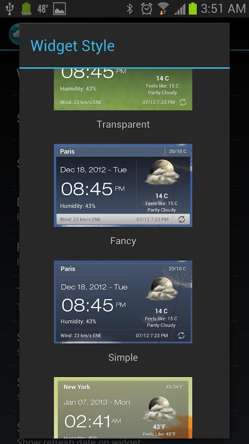 Weather & Clock Widget - screenshot