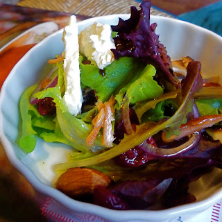 Smoked Salmon Salad with Cayenne Almonds, Dried Cranberries, and Goat Cheese..