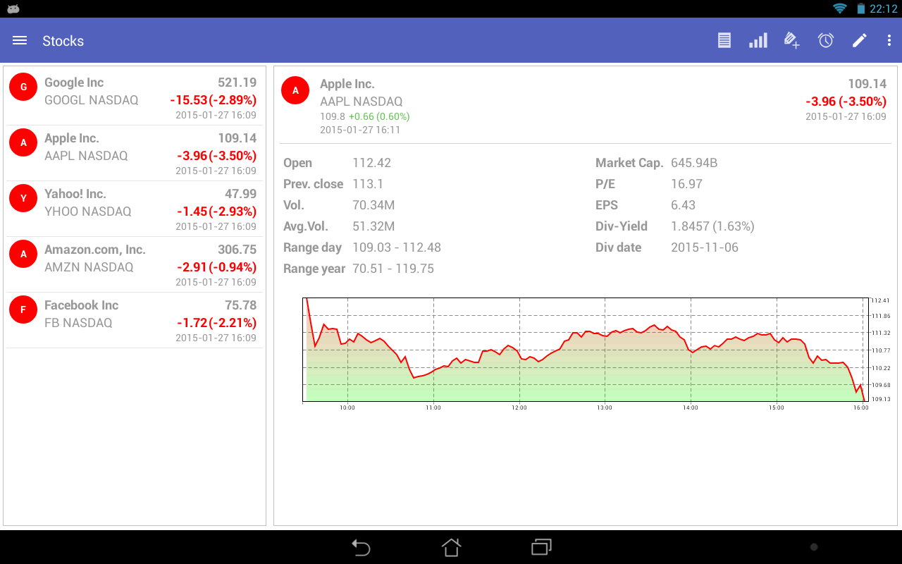 MyStocks Pro - Acciones: captura de pantalla