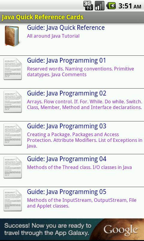 Java Quick Reference Cards - screenshot