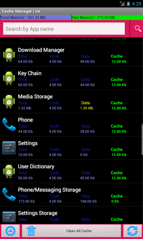Cache-Manager Lite - screenshot