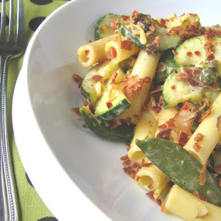 Vegetable Ziti with Garlic Caper Cream Sauce and Bacon Crumbles.