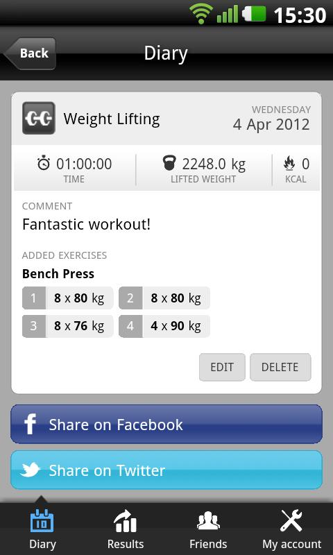 Shapelink Fitness Journal Beta - screenshot