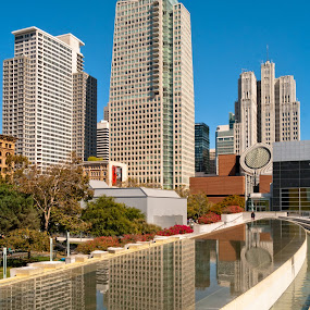 blue sky San Fransisco by GUILLAUME FUNFROCK - Buildings & Architecture Other Exteriors ( water, red, blue, refection, san francisco )