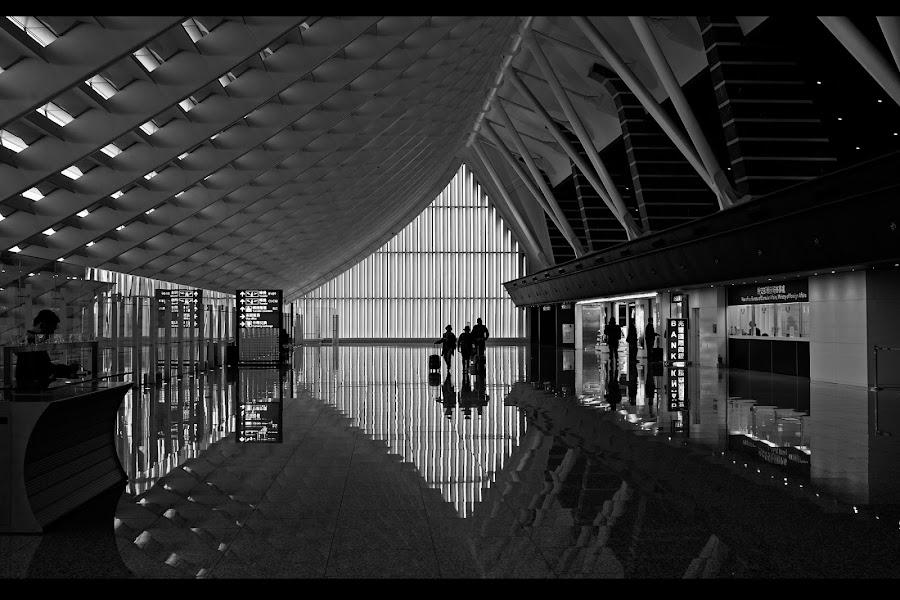 Taipei International Airport by Daniel Legendarymagic - Black & White Buildings & Architecture ( airport, reflection, songshan, taiwan, taipei, international, bw )