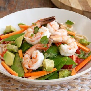 Summer Udon Noodles with Heirloom Tomatoes, Avocado, and Shrimp