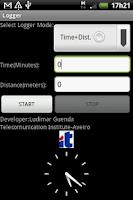 Screenshot of GPS LOGGER with KML