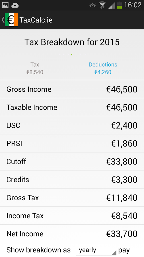 TaxCalc.ie A PAYE Calculator- screenshot