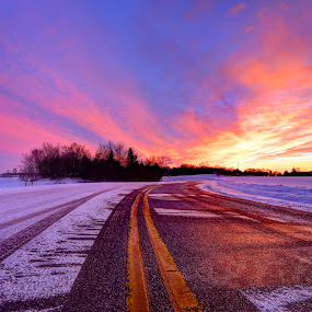 Winter Sunset by Anna-Lee Nemchek Cappaert - Landscapes Sunsets & Sunrises ( winter, colorful, reflections, fresh snow, winter sunset, country road )
