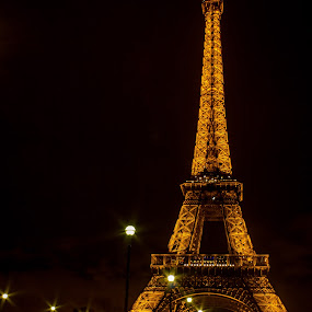The Lighting of the Beauty by Prajwal Ullal - City,  Street & Park  Night ( eiffel tower, paris, canon 18-55 is, night, canon eos 550d, , city at night, street at night, park at night, nightlife, night life, nighttime in the city )