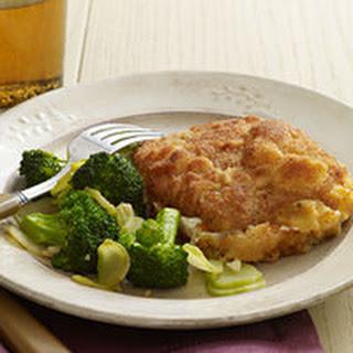 Breaded Pork-and-Mozzarella Stacks with Garlic Broccoli