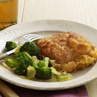 Breaded Pork-and-Mozzarella Stacks with Garlic Broccoli.
