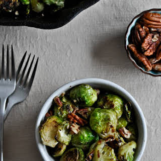 Pan Roasted Brussels Sprouts with Brown Butter and Toasted Pecans.