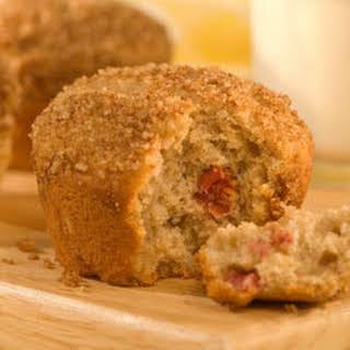 Rhubarb Muffins With Walnut Streusel.
