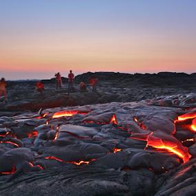 Sunrise in Kalapana by Venetia Featherstone-Witty - Landscapes Sunsets & Sunrises ( tourist attraction, kiluea, freedom, travel, emotion, inspiring, fresh lava, free, volcano, views, earth, sunrise, landscapes, inspire, light, pele, lava flow, hawaii, inspirational )