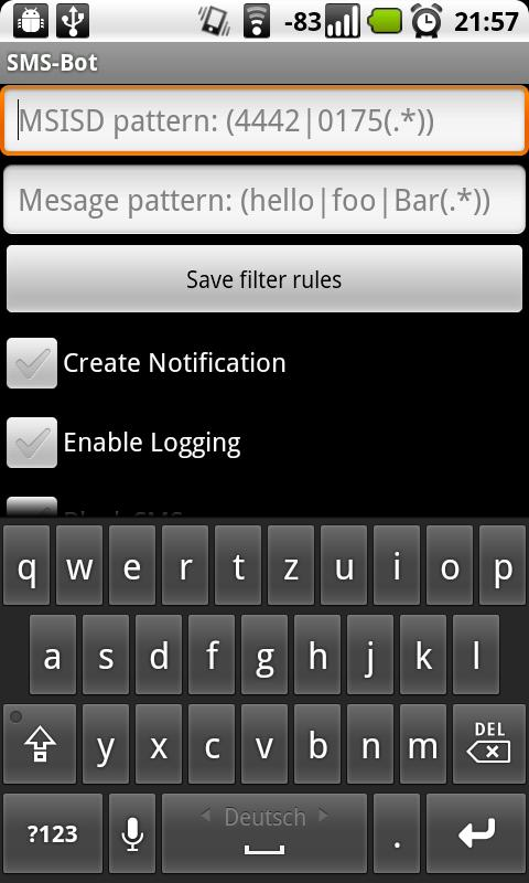 SMS-Filter - screenshot