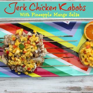 Jerk Chicken Kabobs with Pineapple Mango Salsa.