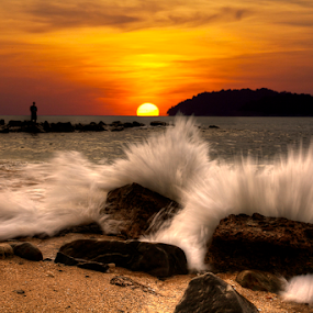 The Horizon by Lawrence Chung - Landscapes Sunsets & Sunrises ( splash, splashing, rocky beach, waves, sunset, wave, beach, landscape )