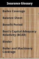 Screenshot of Insurance Glossary