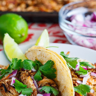 Slow Cooker Chicken Carnitas Tacos.