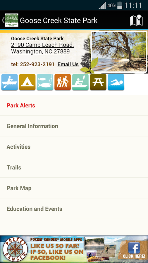 NC State Parks Guide- screenshot