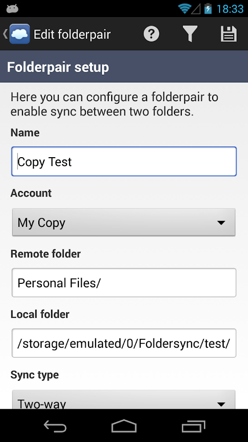 FolderSync - screenshot