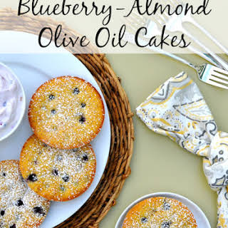 Gluten Free Blueberry-Almond Olive Oil Cakes.