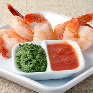 Classic Shrimp Cocktail with Red and Green Sauces.