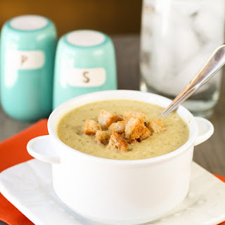 Roasted Potato Leek Soup with Homemade Croutons