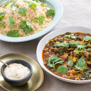 Lamb & Beef Tagine with Swiss Chard, Date Molasses & Whole Wheat Couscous.