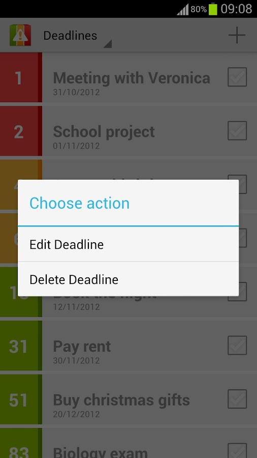 Deadlines Reminder- screenshot