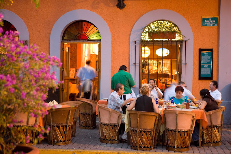 Dining in the Plaza Machado in Mazatlan.