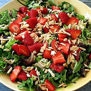 Baby Greens w/ Strawberries & Sugared Almonds.