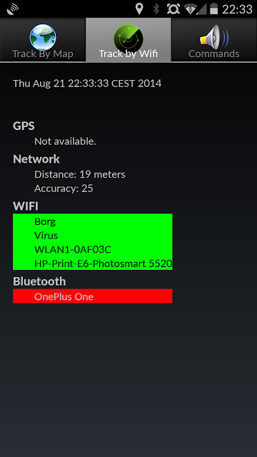 Tracker for AndroidLost BETA: captura de pantalla