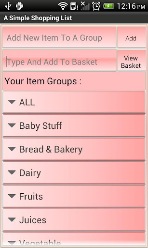 A Simple Shopping List Basket