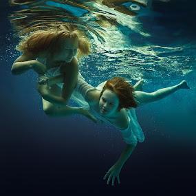 Fine. by Dmitry Laudin - People Portraits of Women ( girl, underwater, dress, woman, swim )