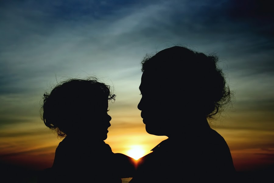 Silhouette of Love by Theo Widharto - People Family ( mother, mother and doughter, silhouette, love sign, silhouettes, improving mood, moods, red, love, the mood factory, inspirational, passion, passionate, enthusiasm, , Travel, People, Lifestyle, Culture )