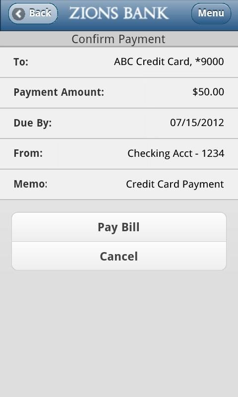 Zions Bank Mobile Banking - screenshot