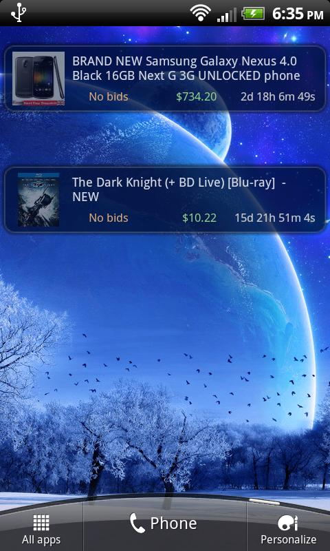 Droid Auctions for eBay- screenshot