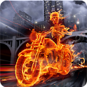 Skeleton Biker in Fire FREE logo