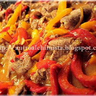 Stracetti—Beef Strips with Bell Peppers.