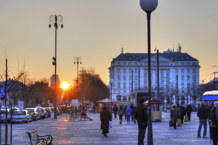 Evening rush... by Zeljko Kliska - City,  Street & Park  Street Scenes ( sunset, street, zagreb, city,  )