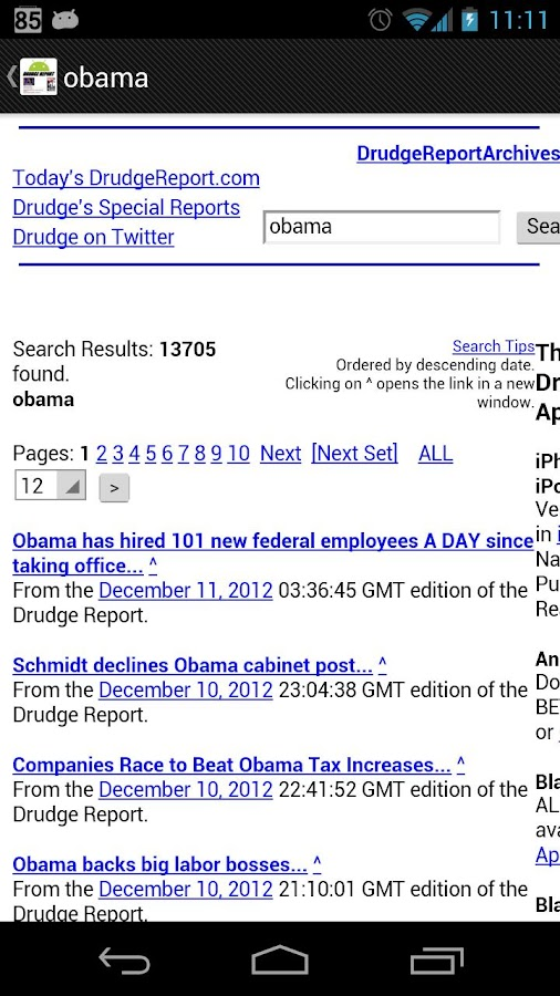 Drudge Report on Droid - screenshot