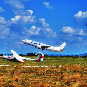 Airplane by Pârlojan Monica - Transportation Airplanes ( flight, plane, blue, airplane, aircraft, air,  )