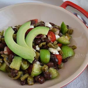 Bean, Nopal, Tomato, and Avocado Salad