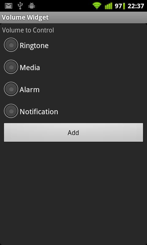 Volume Control Widget- screenshot