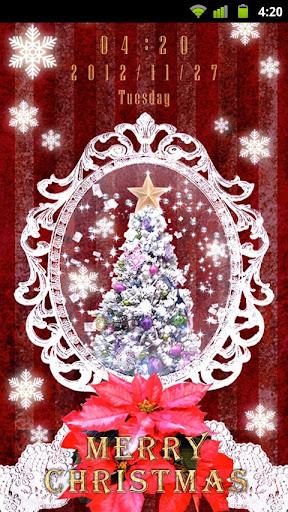 クリスマススノードーム 時計付きライブ壁紙