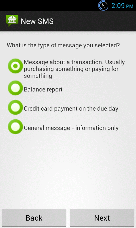 Bank SMS- screenshot