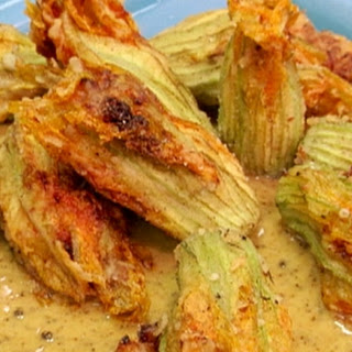 Crispy Squash Blossoms Filled with Pulled Pork and Ricotta Recipe